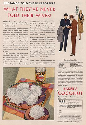 ORIG VINTAGE MAGAZINE AD/ 1930 BAKER'S COCONUT ADillustrator- N/A - Product Image