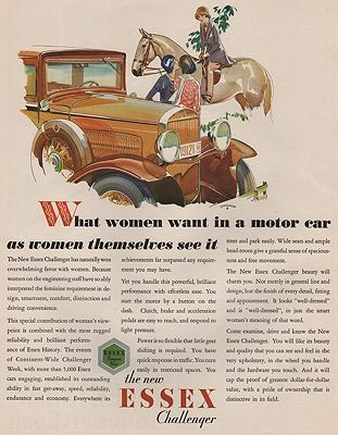 ORIG VINTAGE MAGAZINE AD/ 1930 ESSEX CHALLENGER CAR ADillustrator- Malcolm Daniel  Charleson - Product Image