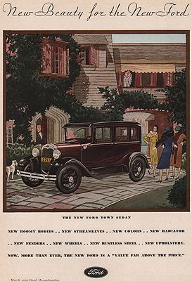 ORIG VINTAGE MAGAZINE AD/ 1930 FORD TOWN SEDANillustrator- James  Williamson - Product Image