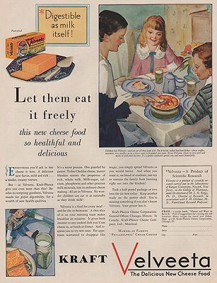 ORIG VINTAGE MAGAZINE AD/ 1930 KRAFT VELVEETA CHEESE ADillustrator- N/A - Product Image