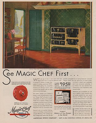 ORIG VINTAGE MAGAZINE AD/ 1930 MAGIC CHEF STOVE ADillustrator- N/A - Product Image