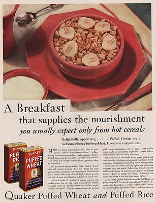 ORIG VINTAGE MAGAZINE AD/ 1930 QUAKER PUFFED WHEAT & RICEillustrator- N/A - Product Image
