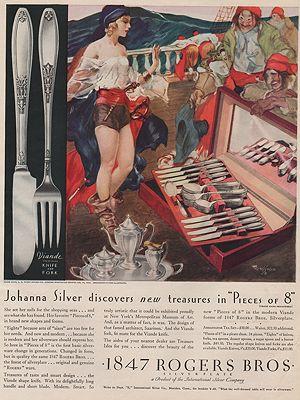 ORIG VINTAGE MAGAZINE AD/ 1930 ROGERS BROS. SILVERWARE ADillustrator- Gustaf  Tenggren - Product Image