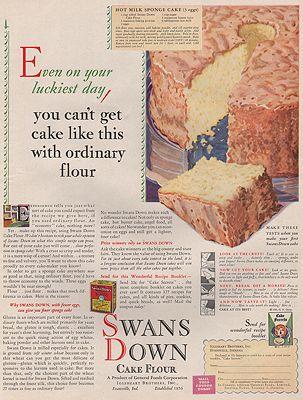 ORIG VINTAGE MAGAZINE AD/ 1930 SWANS DOWN CAKE FLOUR ADillustrator- N/A - Product Image