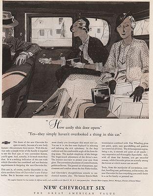 ORIG VINTAGE MAGAZINE AD/ 1932 CHEVROLET  CAR ADillustrator- Jean  Pages - Product Image