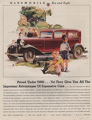 ORIG VINTAGE MAGAZINE AD/ 1932 OLDSMOBILE CAR ADillustrator- George  Rapp - Product Image