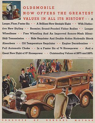 ORIG VINTAGE MAGAZINE AD/ 1932 OLDSMOBILE CAR ADillustrator- Ronald  McLeod - Product Image