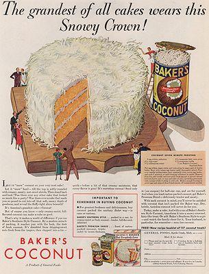 ORIG VINTAGE MAGAZINE AD/ 1933 BAKER'S COCONUT ADillustrator- N/A - Product Image