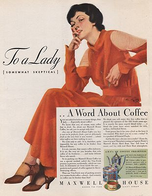ORIG VINTAGE MAGAZINE AD/ 1933 MAXWELL HOUSE COFFEE ADillustrator- C.E.  Chambers - Product Image