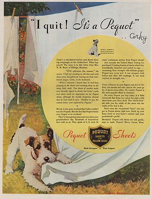 ORIG VINTAGE MAGAZINE AD/ 1933 PEQUOT SHEETS ADillustrator- Morgan  Dennis - Product Image