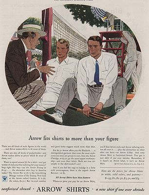 ORIG VINTAGE MAGAZINE AD/ 1934 ARROW SHIRT ADillustrator- James  Williamson - Product Image