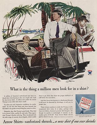 ORIG VINTAGE MAGAZINE AD/ 1934 ARROW SHIRT ADillustrator- James  Williamson - Product Image