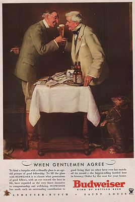 ORIG VINTAGE MAGAZINE AD/ 1934 BUDWEISER BEER ADillustrator- Norman  Rockwell - Product Image