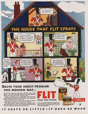 ORIG VINTAGE MAGAZINE AD/ 1934 FLIT SPRAY AND POWDER ADillustrator- N/A - Product Image