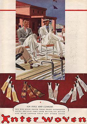 ORIG VINTAGE MAGAZINE AD/ 1934 INTERWOVEN SOCKS ADillustrator- Leslie   Saalburg - Product Image
