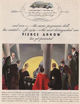 ORIG VINTAGE MAGAZINE AD/ 1934 PIERCE-ARROW CAR ADillustrator- Floyd  Davis - Product Image