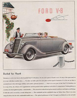 ORIG VINTAGE MAGAZINE AD/ 1935 FORD V-8 ROADSTER ADillustrator- James  Williamson - Product Image