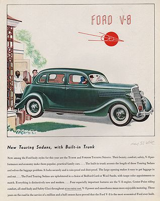 ORIG VINTAGE MAGAZINE AD/ 1935 FORD V-8 SEDAN ADillustrator- James  Williamson - Product Image