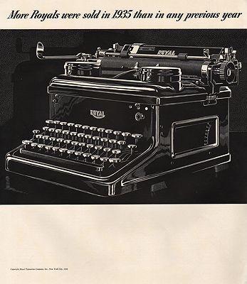 ORIG VINTAGE MAGAZINE AD/ 1935 ROYAL TYPEWRITER ADillustrator- N/A - Product Image