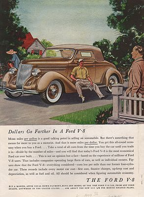 ORIG VINTAGE MAGAZINE AD/ 1936 FORD V-8 CAR ADillustrator- James  Williamson - Product Image