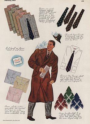 ORIG VINTAGE MAGAZINE AD/ 1937 ARROW SHIRT ADillustrator- James  Williamson - Product Image