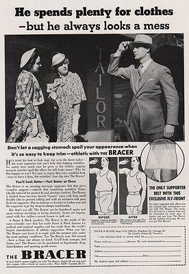 ORIG VINTAGE MAGAZINE AD/ 1937 BRACER SUPPORTER ADillustrator- N/A - Product Image