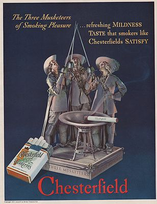 ORIG VINTAGE MAGAZINE AD/ 1937 CHESTERFIELD CIGARETTES ADillustrator- N/A - Product Image