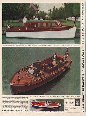 ORIG. VINTAGE MAGAZINE AD: 1937 CHRIS-CRAFT BOAT ADillustrator- N/A - Product Image