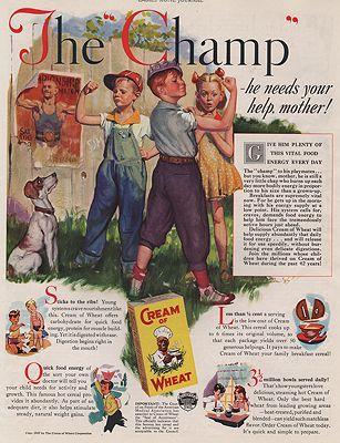 ORIG VINTAGE MAGAZINE AD/ 1937 CREAM OF WHEAT CEREAL ADillustrator- Harold  Anderson - Product Image