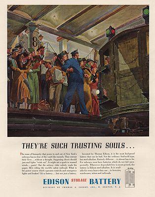 ORIG VINTAGE MAGAZINE AD/ 1937 EDISON BATTERY ADillustrator- Peter  Helck - Product Image