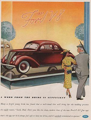 ORIG VINTAGE MAGAZINE AD/ 1937 FORD V-8 CAR ADillustrator- N/A - Product Image