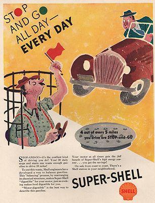 ORIG. VINTAGE MAGAZINE AD: 1937 SHELL GAS ADillustrator- William  Steig - Product Image