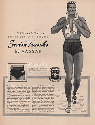 ORIG VINTAGE MAGAZINE AD/ 1937 VASSAR SWIM TRUNKS ADillustrator- N/A - Product Image