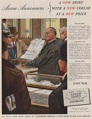 ORIG VINTAGE MAGAZINE AD/ 1938 ARROW SHIRT ADillustrator- James  Williamson - Product Image