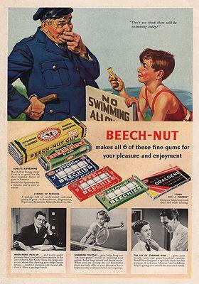 ORIG VINTAGE MAGAZINE AD/ 1938 BEECH-NUT GUM ADillustrator- Frederic  Stanley - Product Image