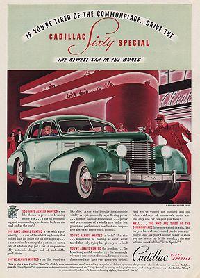ORIG VINTAGE MAGAZINE AD/ 1938 CADILLAC CAR ADillustrator- N/A - Product Image