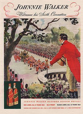 ORIG VINTAGE MAGAZINE AD/ 1938 JOHNNIE WALKER WHISKEY ADillustrator- Floyd  Davis - Product Image