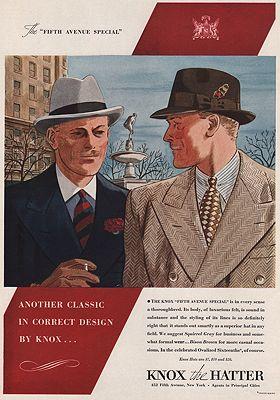 ORIG VINTAGE MAGAZINE AD/ 1938 KNOX HATS ADillustrator- N/A - Product Image