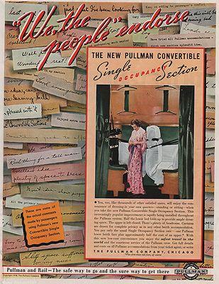 ORIG VINTAGE MAGAZINE AD/ 1938 PULLMAN RAILROAD CAR COMPANYillustrator- N/A - Product Image