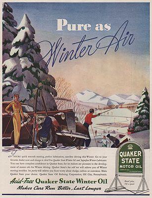 ORIG VINTAGE MAGAZINE AD/ 1938 QUAKER STATE MOTOR OIL ADillustrator- George  Hughes - Product Image