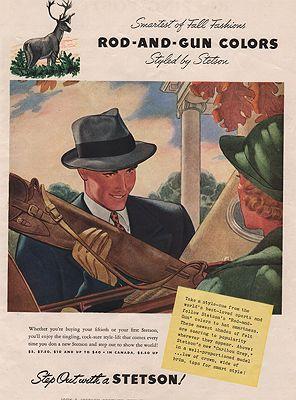 ORIG VINTAGE MAGAZINE AD/ 1938 STETSON HAT ADillustrator- James W.  Williamson - Product Image