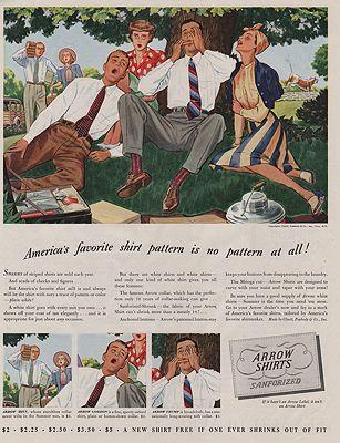 ORIG VINTAGE MAGAZINE AD/ 1939 ARROW SHIRT ADillustrator- James  Williamson - Product Image