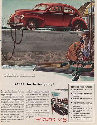 ORIG VINTAGE MAGAZINE AD/ 1939 FORD V-8 CAR ADillustrator- James  Williamson - Product Image