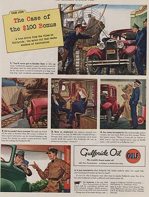 ORIG VINTAGE MAGAZINE AD/ 1939 GULFPRIDE OIL ADillustrator- James  Williamson - Product Image