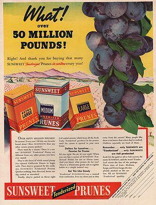 ORIG VINTAGE MAGAZINE AD/ 1939 SUNSWEET PRUNES ADillustrator- N/A - Product Image