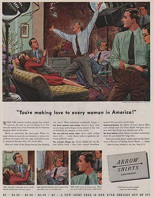 ORIG VINTAGE MAGAZINE AD/ 1940 ARROW SHIRT ADillustrator- James  Williamson - Product Image