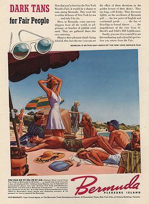 ORIG VINTAGE MAGAZINE AD/ 1940 BERMUDA TOURISM ADillustrator- James  Williamson - Product Image