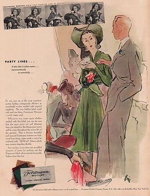 ORIG VINTAGE MAGAZINE AD/ 1940 FORSTMANN WOOLEN ADillustrator- Carl  Erickson - Product Image