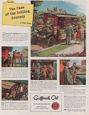 ORIG VINTAGE MAGAZINE AD/ 1940 GULFPRIDE OIL ADillustrator- James  Williamson - Product Image