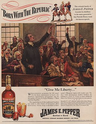 ORIG VINTAGE MAGAZINE AD/ 1940 JAMES E. PEPPER WHISKEY ADillustrator- Norman  Price - Product Image